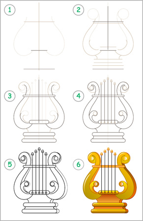Illustration pour Page shows how to learn step by step to draw a lyre. Vector image. Developing children skills for drawing and coloring. - image libre de droit