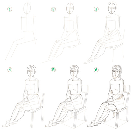 Illustration pour Page shows how to learn step by step to draw a sitting woman. Developing skills for drawing. - image libre de droit
