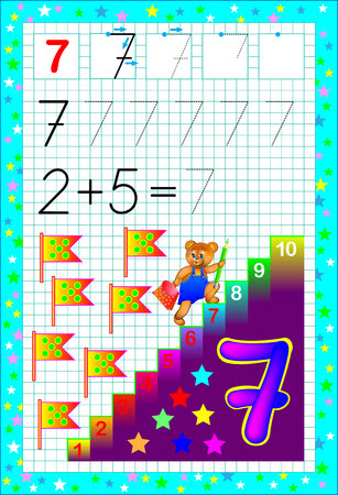 Educational page for children with number seven. Developing skills for counting and writing. Vector image.