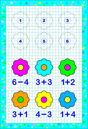 Ilustración de Educational page for children with exercises on a square paper. Need to solve examples and to paint the flowers in corresponding colors. - Imagen libre de derechos