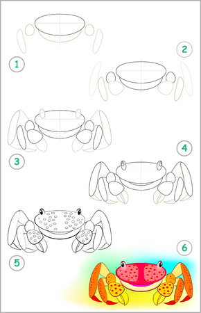 Illustration pour Page shows how to learn step by step to draw a little crab. Developing children skills for drawing and coloring. Vector image. - image libre de droit