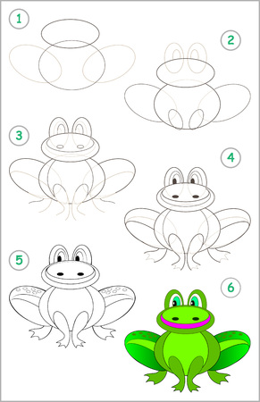 Illustration pour Page shows how to learn step by step to draw a funny frog. Developing children skills for drawing and coloring. Vector image. - image libre de droit