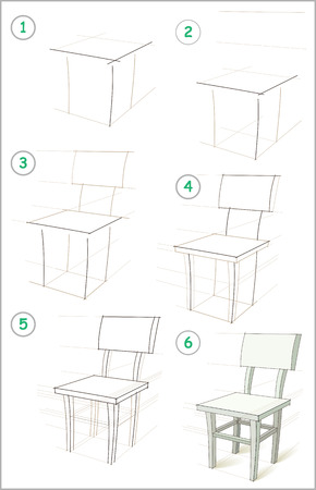 Illustration pour Page shows how to learn step by step to draw a chair. Developing children skills for drawing and coloring. Vector image. - image libre de droit
