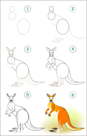 Illustration pour Page shows how to learn step by step to draw a cute kangaroo. Developing children skills for drawing and coloring. Vector image. - image libre de droit