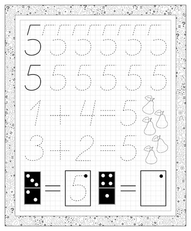 Ilustración de Black and white worksheet on a square paper with exercises for little children. Page with number five. Developing skills for writing and counting. Vector image. - Imagen libre de derechos