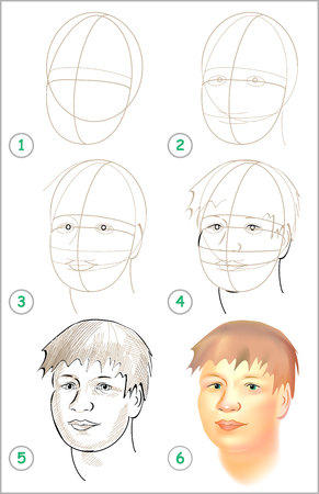 Illustration pour Page shows how to learn step by step to draw a head. Developing children skills for drawing and coloring Vector image. - image libre de droit