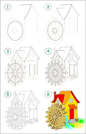 Illustration pour Page shows how to learn step by step to draw a water mill. Developing children skills for drawing and coloring vector image. - image libre de droit