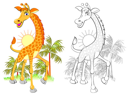 Illustration pour Colorful and black and white pattern for coloring, illustration of cute little giraffe. - image libre de droit