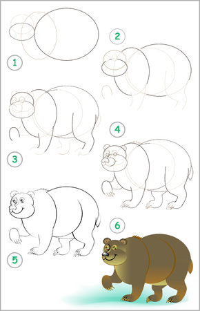Illustration pour Page shows how to learn step by step to draw a cute bear. Developing children skills for drawing and coloring. Vector image. - image libre de droit