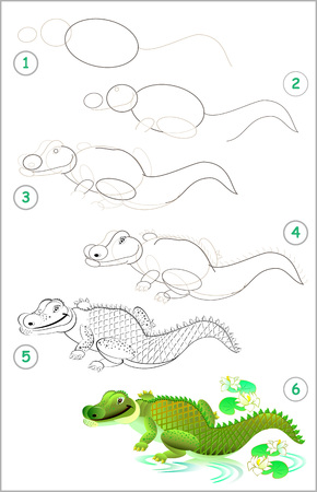 Illustration pour Page shows how to learn step by step to draw a cute crocodile. Developing children skills for drawing and coloring. Vector image. - image libre de droit