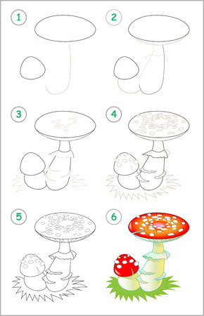 Illustration pour Page shows how to learn step by step to draw a fly amanita. Developing children skills for drawing and coloring. Vector image. - image libre de droit