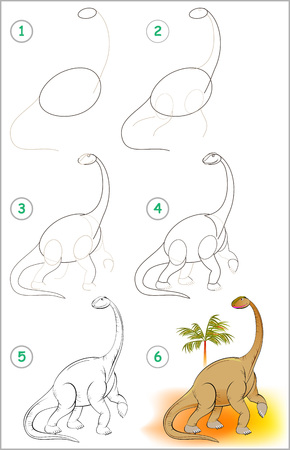 Illustration pour Illustration shows how to learn step by step to draw a cute dinosaur. - image libre de droit