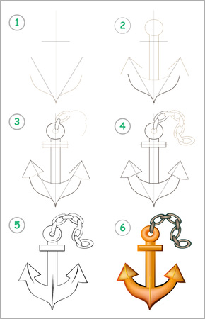 Illustration pour Page shows how to learn step by step to draw an anchor. Developing children skills for drawing and coloring. Vector image. - image libre de droit