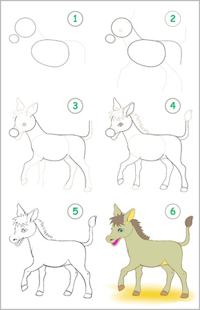 Illustration pour Page shows how to learn step by step to draw a cute donkey. Developing children skills for drawing and coloring. Vector image. - image libre de droit