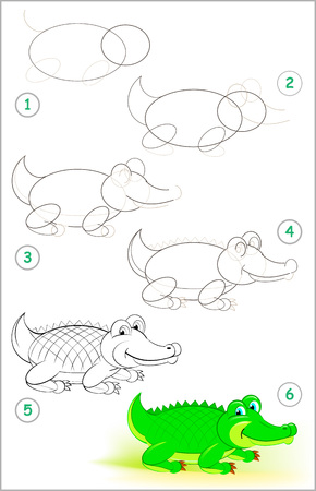 Illustration pour Page shows how to learn step by step to draw a cute crocodile. Developing children skills for drawing and coloring. - image libre de droit