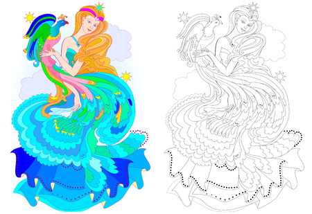 Ilustración de Colorful and black and white pattern for coloring. Fantasy drawing of beautiful fairy with fire-bird. Worksheet for children and adults. Vector image. - Imagen libre de derechos