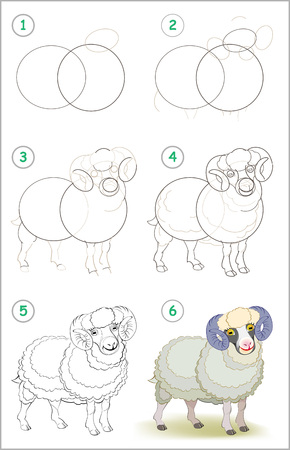 Illustration pour Page shows how to learn step by step to draw a cute domestic male sheep. Developing children skills for drawing and coloring. Vector image. - image libre de droit