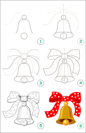Illustration pour Page shows how to learn step by step to draw a cute bell with a bow. Developing children skills for drawing and coloring. Back to school. Vector cartoon image. - image libre de droit