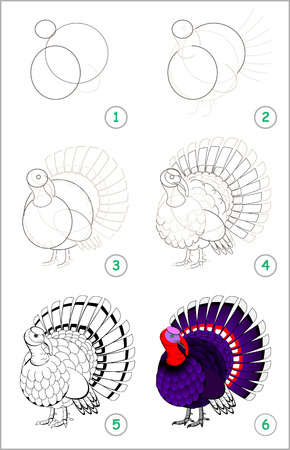 Illustration pour Educational page for kids shows how to learn step by step to draw a cute turkey. Back to school. Developing children skills for drawing and coloring. Vector cartoon image. - image libre de droit