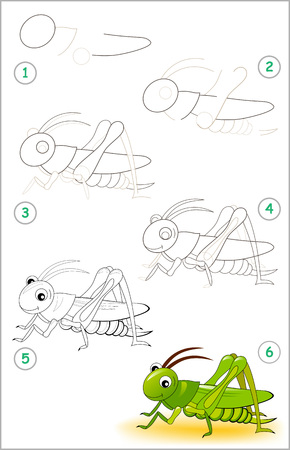 Illustration pour Educational page for kids shows how to learn step by step to draw a cute cricket. Back to school. Developing children skills for drawing and coloring. Vector cartoon image. - image libre de droit