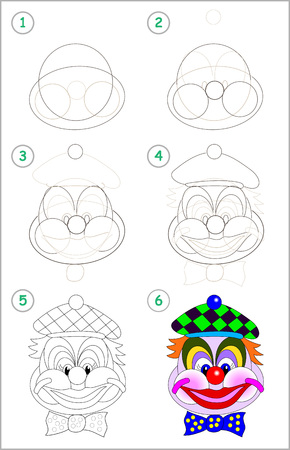 Illustration pour Page shows how to learn step by step to draw cute head of toy smiling clown. Developing children skills for drawing and coloring. Back to school. Printable worksheet. Vector cartoon image. - image libre de droit