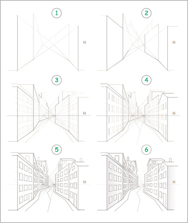Illustration pour Page shows how to learn step by step to create pencil drawing of meandering town street with houses in perspective. Developing children skills to draw. Back to school. Printable worksheet for kids. - image libre de droit