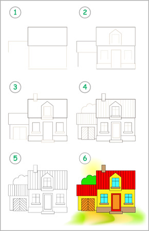 Illustration pour Page shows how to learn step by step to draw cute country house. Developing children skills for drawing and coloring. Back to school. Printable worksheet. Vector cartoon image. - image libre de droit