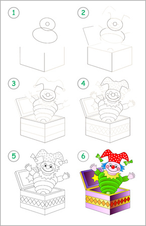 Illustration pour Page shows how to learn step by step to draw cute toy clown from box. Developing children skills for drawing and coloring. Back to school. Printable worksheet. Vector cartoon image. - image libre de droit