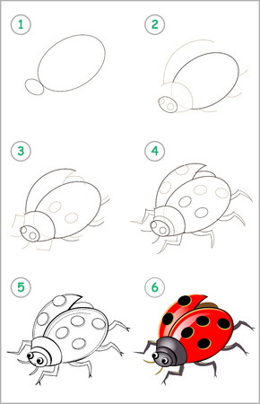 Illustration pour Educational page for kids. How to draw step by step an insect ladybird. Back to school. Developing children skills for drawing and coloring. Printable worksheet for baby book. Vector cartoon image. - image libre de droit