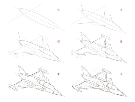 Illustration pour How to create step by step pencil drawing. Page shows how to learn step by step draw fantastic space warship. Print for artists school textbook. Developing skills for design. Hand-drawn vector image. - image libre de droit
