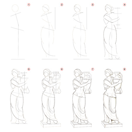 Illustration pour How to create step by step pencil drawing. Page shows how to learn step by step draw imaginary Greek women statue. Print for artists school textbook. Developing design skills. Hand-drawn vector image. - image libre de droit