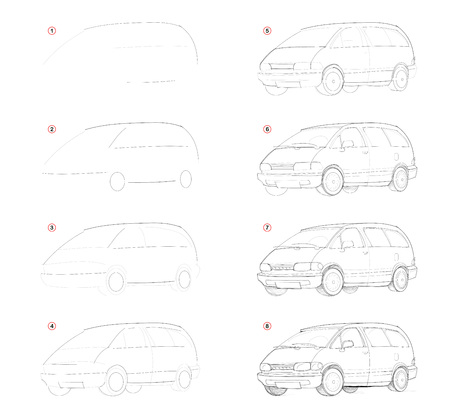 Illustration pour How create step by step pencil drawing. Page shows how to learn successively draw c passenger car. Print for artists school textbook. Developing skills for design. Hand-drawn vector image. - image libre de droit