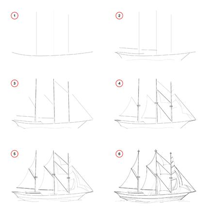 Illustration pour Creation step by step pencil drawing. Page shows how to learn draw sketch of imaginary three-masted sailing ship. School textbook for developing artistic skills. Hand-drawn vector image. - image libre de droit