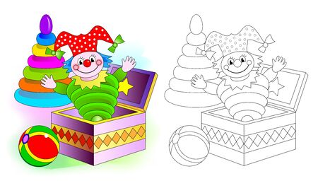 Illustration pour Colorful and black and white pattern for coloring. Set of cute baby toys with clown, ball and pyramid. Worksheet for coloring book for kids. Development children drawing skills. Vector image. - image libre de droit