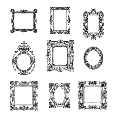 Illustration pour Vector vintage hand drawn set with picture frames. Retro illustration. Sketch - image libre de droit
