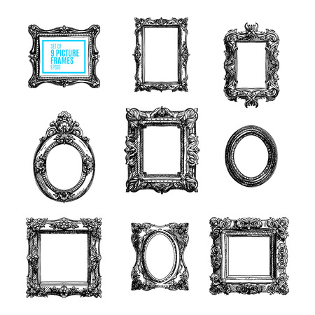 Ilustración de Vector hand drawn set with picture frames. Sketched illustration collektion. - Imagen libre de derechos