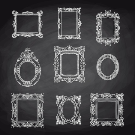 Illustration pour Vector vintage hand drawn set with picture frames. Retro illustration. Sketch. Chalkboard - image libre de droit