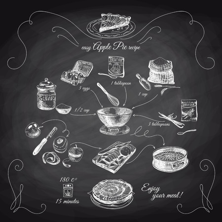 Illustration pour Simple Apple pie recipe. Step by step.Hand drawn illustration with apples, eggs, flour, sugar. Homemade pie, dessert. Chalkboard. - image libre de droit