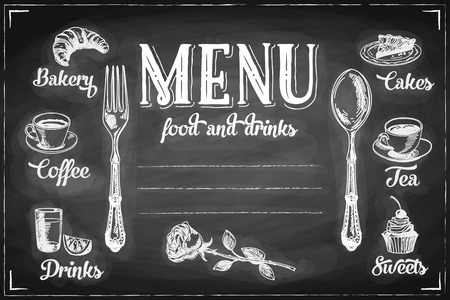 Ilustración de Vector hand drawn breakfast and branch background on chalkboard. Menu illustration. - Imagen libre de derechos