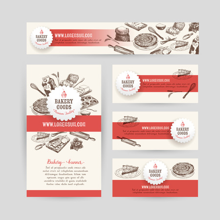 Illustration pour Corporate identity business set design with baking and cooking tools. Vintage background. Vector illustration.Hand drawn retro illustration. Sketch. - image libre de droit