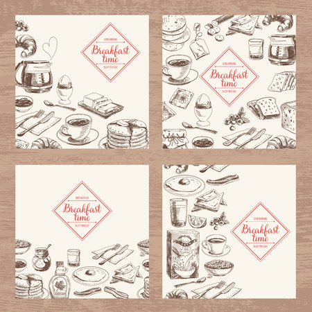 Illustration for Vector hand drawn breakfast and branch background set. Menu illustration. - Royalty Free Image