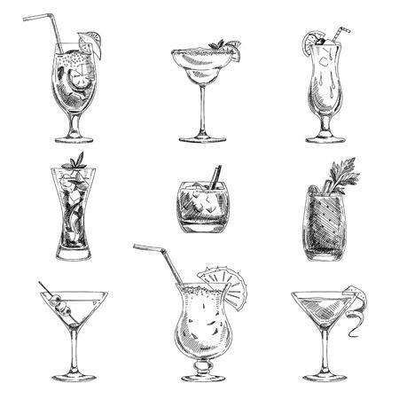 Ilustración de Vector hand drawn set of cocktails and alcohol drinks. Sketch. - Imagen libre de derechos