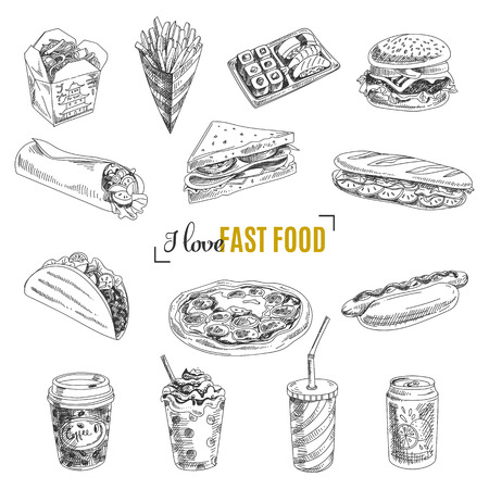 Photo for Vector set of fast food. Vector illustration in sketch style. Hand drawn design elements. - Royalty Free Image