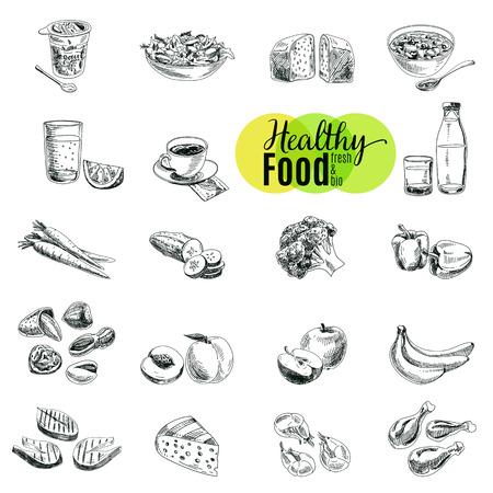 Ilustración de Vector set of healthy food. Vector illustration in sketch style. Hand drawn design elements. - Imagen libre de derechos