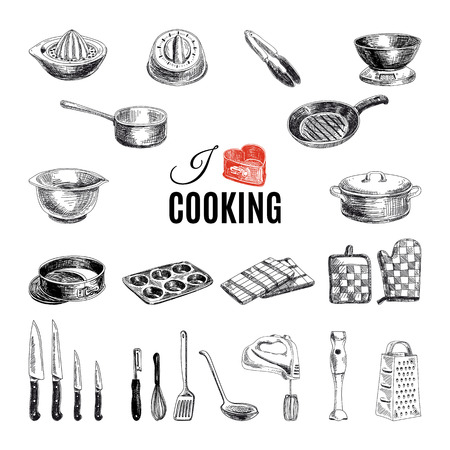 Illustration pour Vector hand drawn illustration with kitchen tools. Sketch. - image libre de droit
