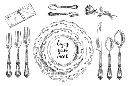 Foto de Vector hand drawn illustration with Table setting set. Sketch. Vintage illustration. - Imagen libre de derechos