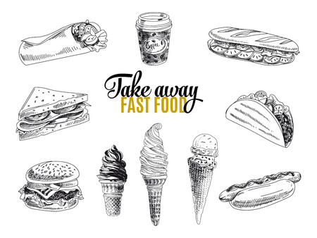 Illustration for Vector set of fast food. Vector illustration in sketch style. Hand drawn design elements. - Royalty Free Image