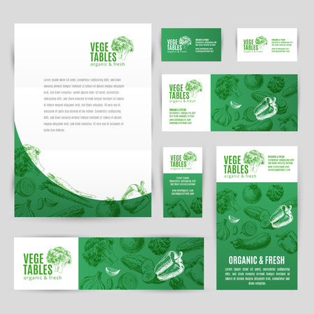 Photo for Hand drawn vector corporate template set with vegetables. Vintage. Sketch. - Royalty Free Image