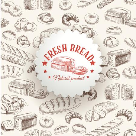 Illustration pour Vector bakery retro background. Vintage Illustration with bread. Sketch. - image libre de droit