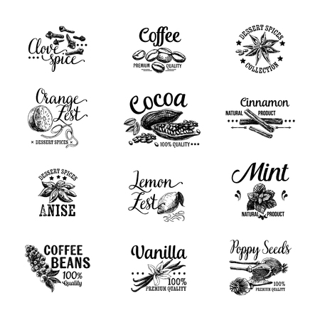 Ilustración de Vector set of Dessert Spices icon, labels, badges and design elements. Retro.Vintage illustrations. - Imagen libre de derechos